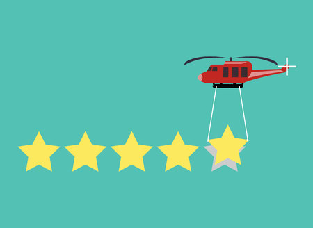copter with transporting items rating stars. Flat design