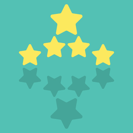 product quality: Five Star Product Quality Rating With Reflection Illustration