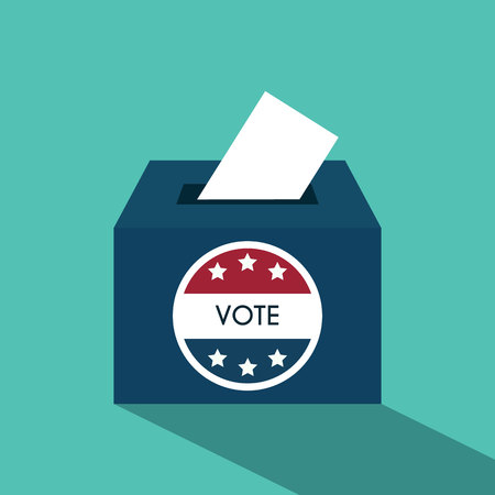 presidential: Presidential Election Day Vote Box. American Flags Symbolic Elements - Red Stripes and White Stars. Illustration