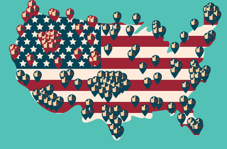Presidential Election Day Vote. American Flags Symbolic Elements - Red Stripes and White Stars.