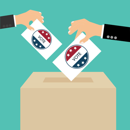 vote box: Presidential Election Day Vote Box. American Flags Symbolic Elements - Red Stripes and White Stars. Illustration