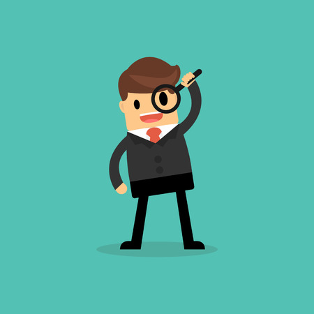 Businessman looking through a magnifying glass. business concept. Illustration