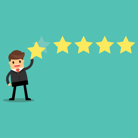 five star: Businessman giving five star rating, Feedback concept,