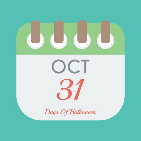october 31: calendar icon flat of October 31. Halloween day