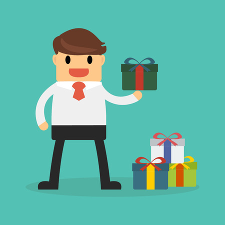 Businessman holding a gift box Vetores
