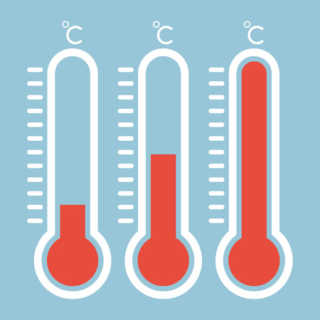 high scale: Thermometers in flat style and thermometer icon, Medical thermometer Icon