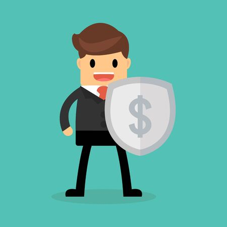 genial: Businessman with shield, Business concept. Illustration
