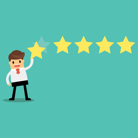 Businessman giving five star rating, Feedback concept Illustration