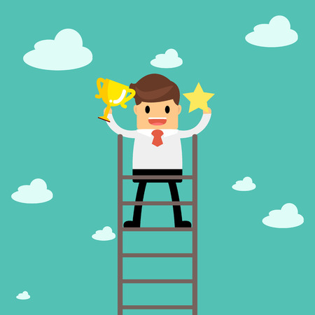 Business man holding the trophy and catching the star show his successful. Business concept a ladder corporate of success. Illustration