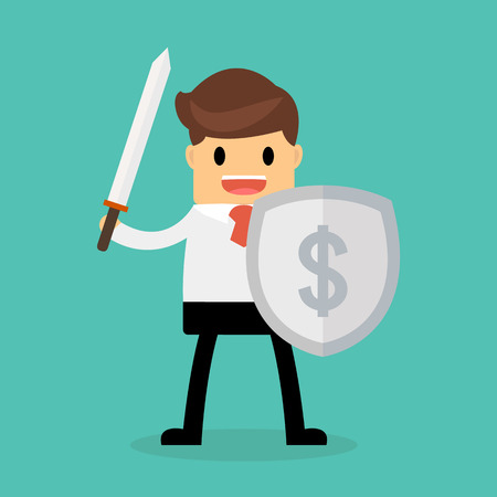 traders: Businessman with shield and sword, Business concept.