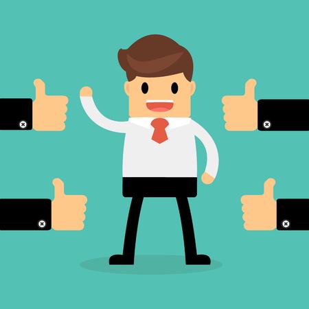 El hombre de negocios feliz con el pulgar hacia arriba muchas manos. concepto de realimentación.