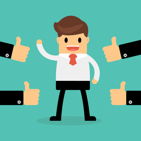 compliments: Happy Businessman with many hands thumbs up. feedback concept.