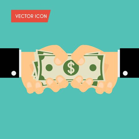 receiving: Businessman hand giving cash and hand receiving cash. Funding, bribe, donation, payday concepts. Vector illustration