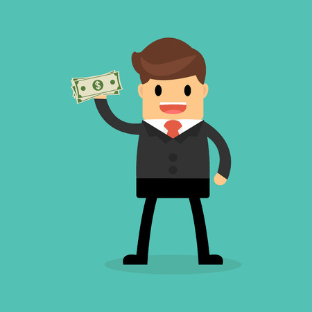 Businessman holding dollar. Funding, bribe, donation, payday concepts. Stock Illustratie
