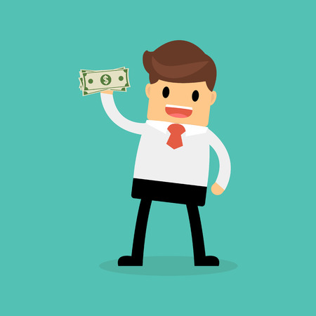 payday: Businessman holding dollar. Funding, bribe, donation, payday concepts. Illustration