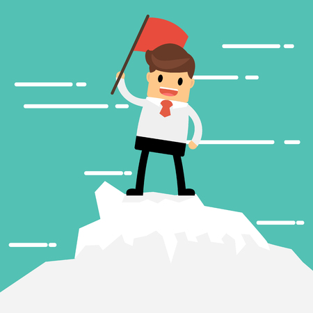 Businessman on a Mountain peak, success and mission. Flat style. Illustration