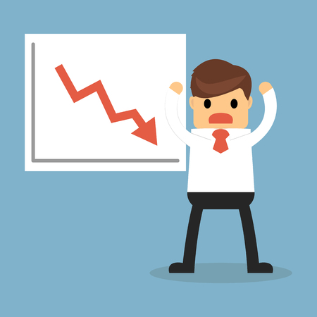 businessman with presenting a falling chart.