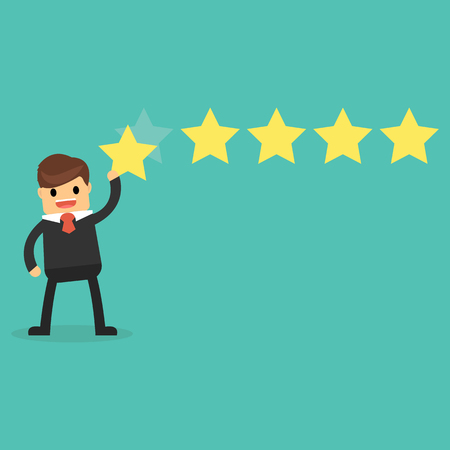 five star: Happy businessman giving five star rating.