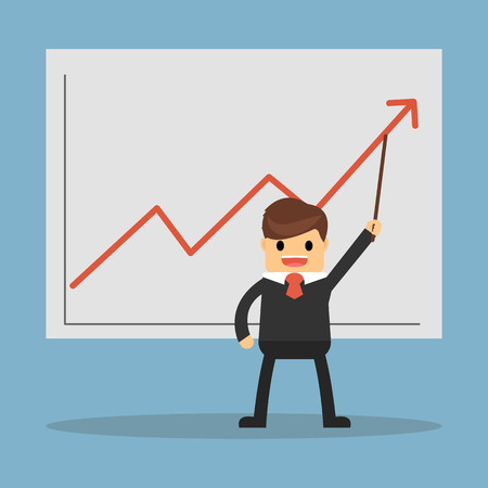 businessman with pointer stick presenting a growing chart