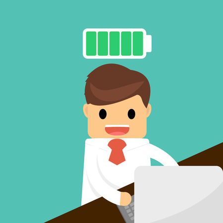 unplug: Happy businessman with full energy concept .