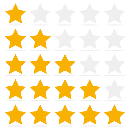 Customer review give a five star. Positive feedback concept.