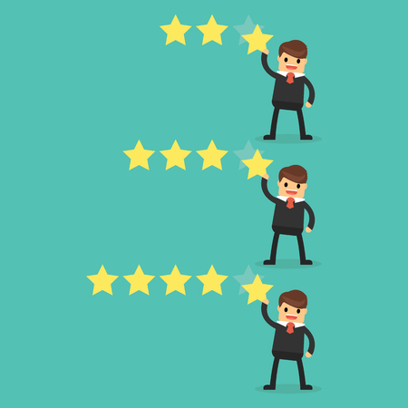 Customer review give a five star. Positive feedback concept. Illustration