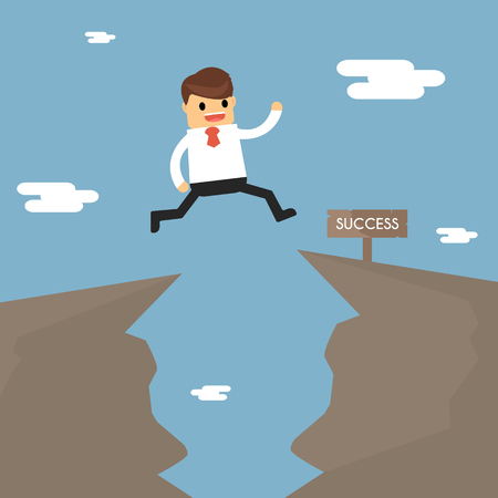 Businessman jump through the gap in the rocks. the concept of business success.