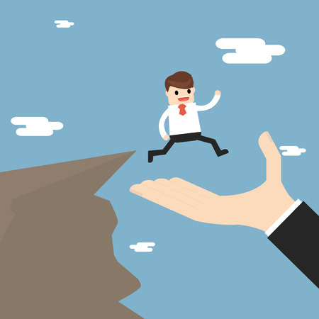 Business Partnership And Support. businessman is walking to the cliff but the big hand offers to support him. Illustration