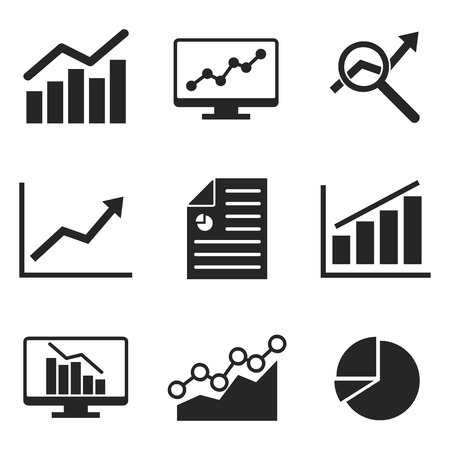 An Analytics icon set on flat style. Banco de Imagens - 74573725