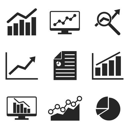 An Analytics icon set on flat style. Illustration