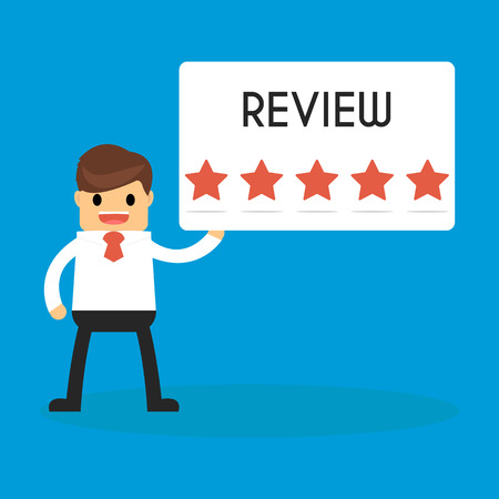 Businessman holding 5 star review sign. success and mission. Flat style. Illustration
