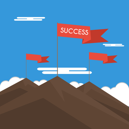mountaintop: Red flag on a Mountain peak. Concept business and success.