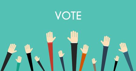Voting concept. Raised hands volunteering vector concept Çizim