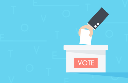 Vector of hand putting paper in the ballot box. Voting concept.