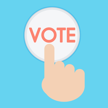 Vector of hand pressing a button with the text vote icon. ballot symbol. Illustration