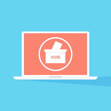 Vector of paper in the ballot box. Voting concept.