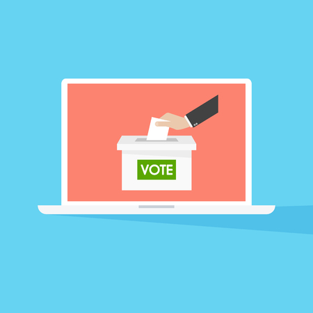 Hand putting paper in the ballot box. Voting concept. Illustration