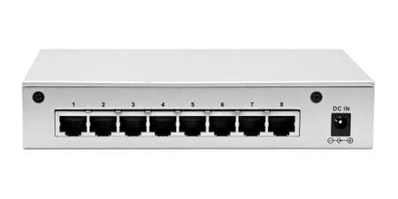 tcp: Lan switch back panel with 8 ports isolated on a white background