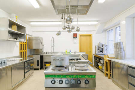 factory interior: Real kitchen in a small hotel or restaurant Stock Photo