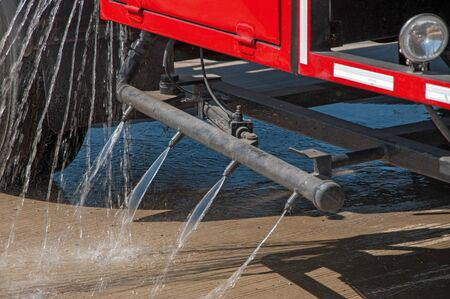 spay: Fire Truck Spay Release Water Stock Photo