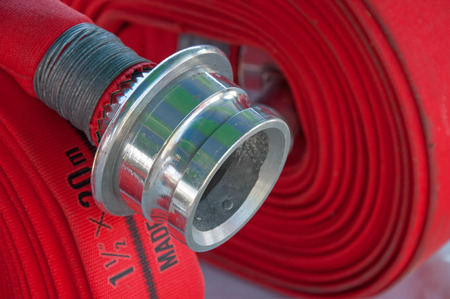 fire fighter: Fire hose Stock Photo