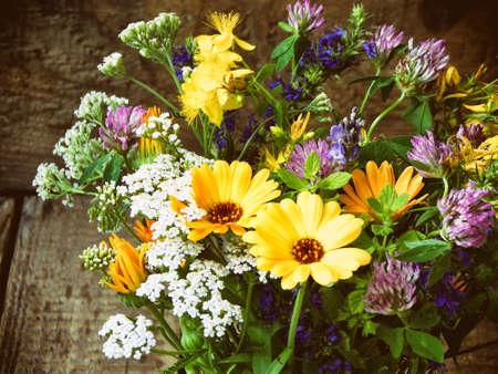 bouquet of healing herbs - mint, yarrow, lavender, clover, hyssop, calendula, milfoil, herbal medicine Stock Photo