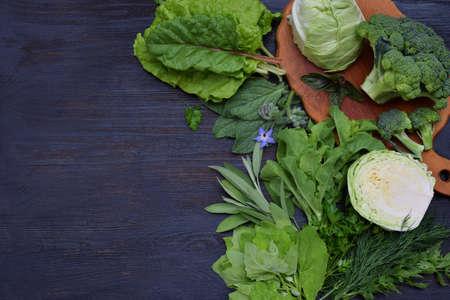 엽산, riboflavin, 비타민 B9, B2, K, C- 양배추 브로콜리, chard, 상 추, 시금치, 파 슬 리, 샐 러 리, 딜, 샐비어 포함 된 녹색 잎이 많은 채소의 어두운 배경에