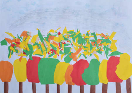 Children's applique: autumn forest. Yellow, red, green leaves Children DIY concept