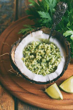 Coconut chutney with fresh parsley, cilantro and lemon juice. Popular Indian side dish. Gluten, Dairy, Grain free. AIP Autoimmune Paleo