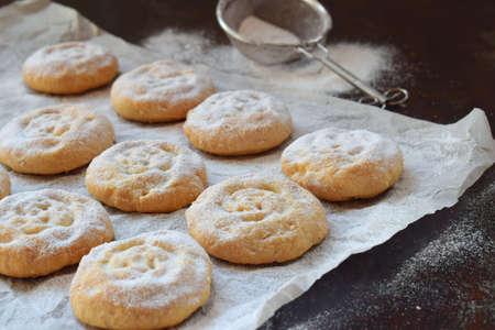 Sesame shortbread with date stuffing. Middle Eastern cookies. Eid and Ramadan Dates Sweets. Kahk. Arabian cuisine. Copy Space.