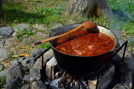 Bograch. Soup with paprika, meat, bean, vegetable, dumpling. Traditional Hungarian Goulash in cauldron. Meal cooked outdoors on an open fire. Delicious and healthy food popular in Central Europe.