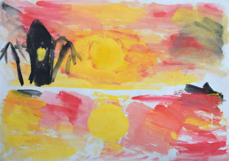 Children's drawing: sunset on the island in the sea or ocean.