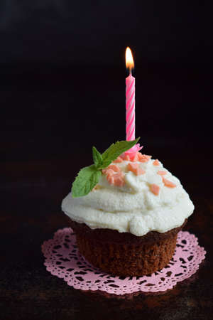 The chocolate cupcake with vanilla cream and candle. Happy Birthday. Dark photo