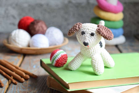 Crochet dog. The toy for babies or trinket. On the table threads, needles, hook, cotton yarn. Handmade gift. DIY crafts concept.